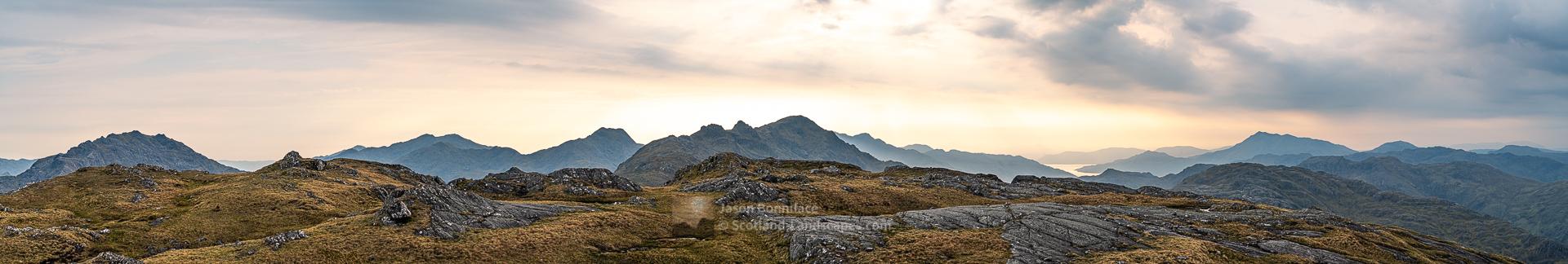 A Westerly Panorama from Sgurr Airigh na Beinne, Lochalsh & Knoydart