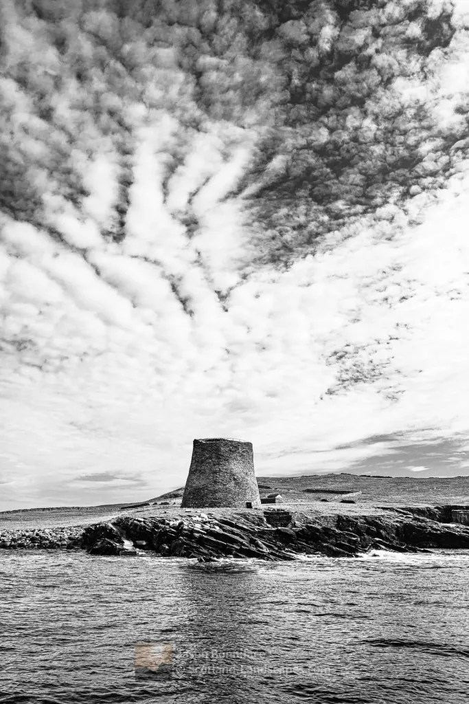 Mousa Broch from the Mousa Boat (B&W), Shetland