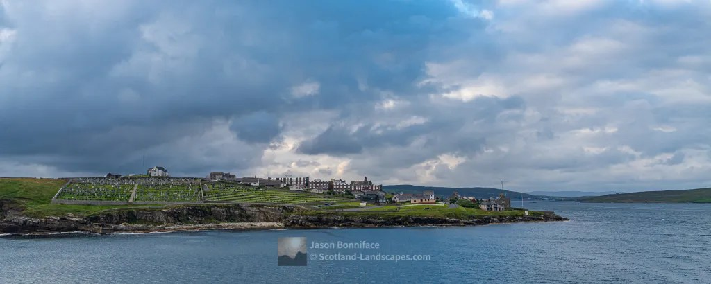 The Knab Point on the South Side of Lerwick from the Departing Aberdeen Ferry, Shetland