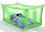 sleeping under mosquito net