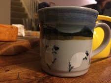 The mug I always love to use at the Green's. My favorite dancing sheep mug.