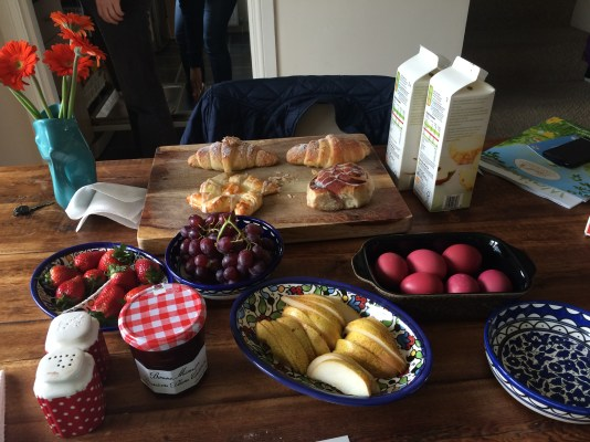 I though we were just having pastries and some fruit. But no, we had pink easter eggs and quite the spread.