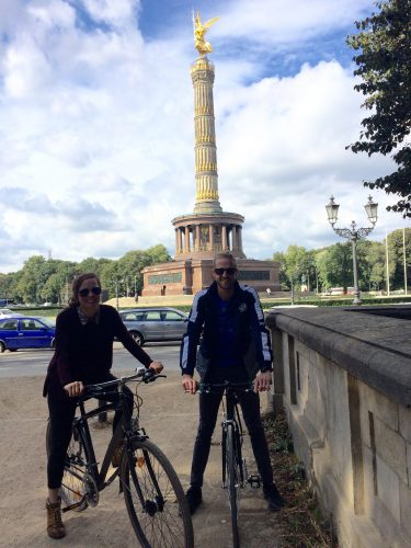 The Victory Column (located in the Tiergarten), build well before the WW1 to commemorate the Prussian victory. It managed to survive WW1, WW2 + Cold War with few repairs here and there. (Don't be fooled by my relaxed vibes on that bike, I was a bit nervous the first day on the bike- I don't think I've ever biked through an urban setting before- HA!)