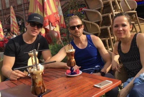 Spencer, Bobby, me and Jamie behind the camera - having an iced coffee break on a sunny day!