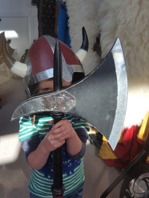 Viking Warrior (aged 3) at the Hoswick Visitor Centre