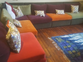 Soft, colourful seating in the Family Room