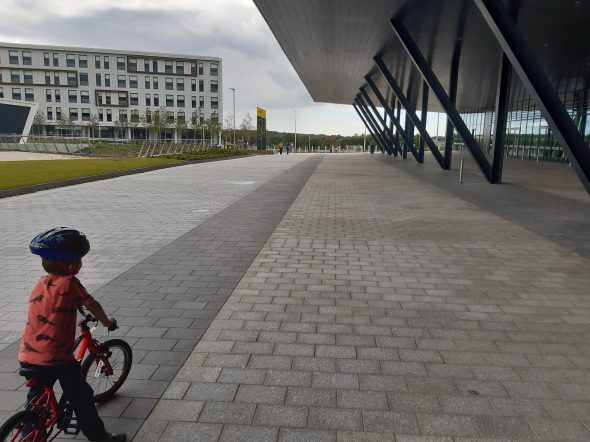 Cycling around the new exibition centre
