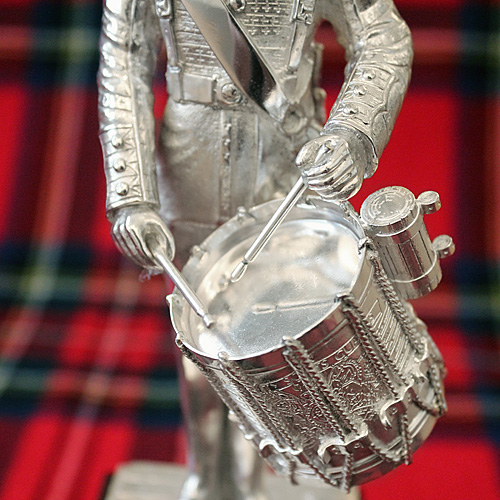 "Silver Plated 8"" Scots Guard Drummer statue on wooden plinth"