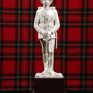 "Silver Plated 11"" 1908 Scots Guard Sergeant statue on wooden plinth"