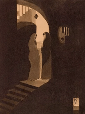 """Meeting at the Staircase"" by Gaganendranath Tagore, 1920 - 1925. Water colour on paper, 343x260 mm. National Gallery Of Modern Art (NGMA), New Delhi Image: Public Domain."