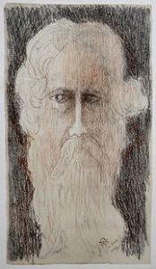 Self portrait by Rabindranath Tagore 1936