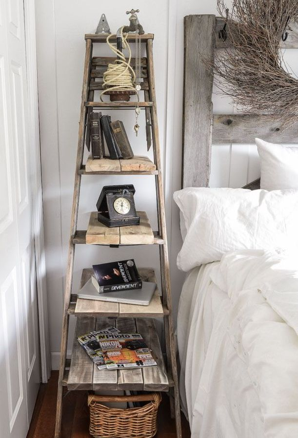 Step-ladder used as bedside table, the steps work as shelves!!