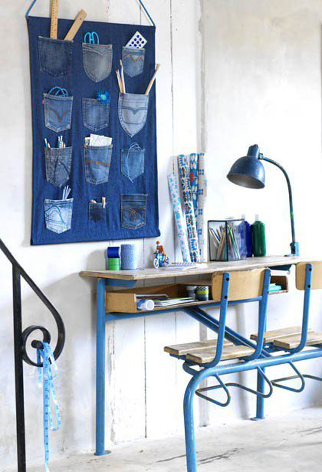 Stationery storage from old jeans
