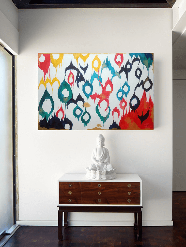 Ikat abstract painting in home