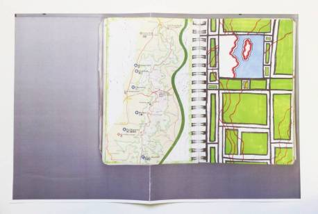 Tiny Empires and Cartographies: color photocopy of map drawing in sketchbook