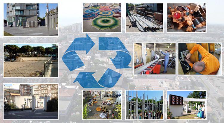 Reviving public spaces through reusing existing urban materials.