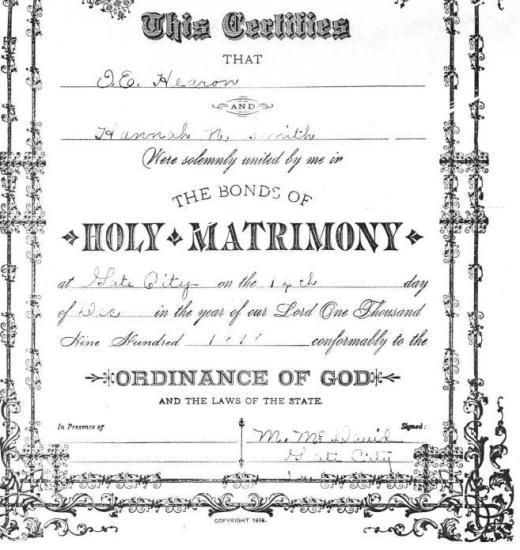 Issac E. HERREN & Hannah N. SMITH, 1898 – Marriage
