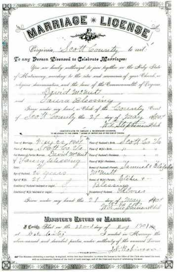 David McNUTT & Laura BLESSING, 1901 – Marriage