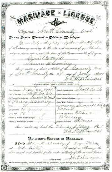 David McNUTT & Laura BLESSING, 1901 – Marriage