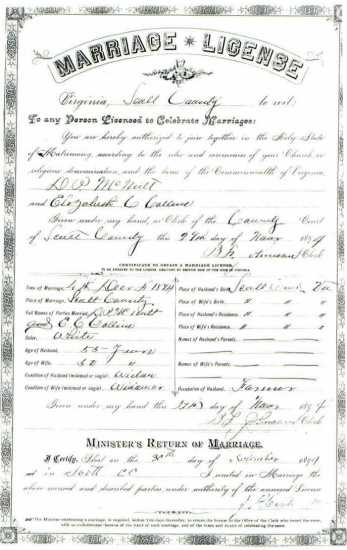 D. O. McNUTT & Elizabeth C. COLLINS, 1894 – Marriage