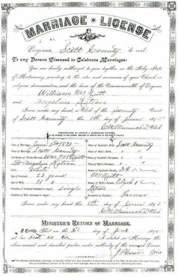William McNUTT & Angeline KETRON, 1895 – Marriage