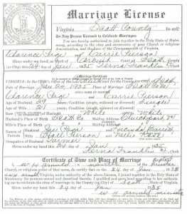 Clarence PAGE & Carrie PIERSON, 1935 – Marriage