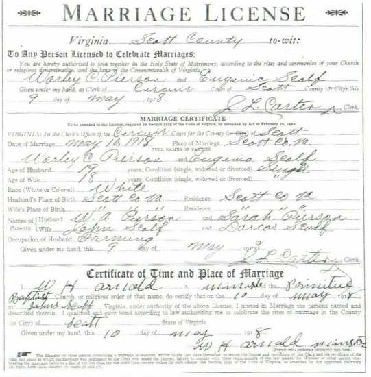 Worley C. PIERSON & Eugenia SCALF, 1918 – Marriage