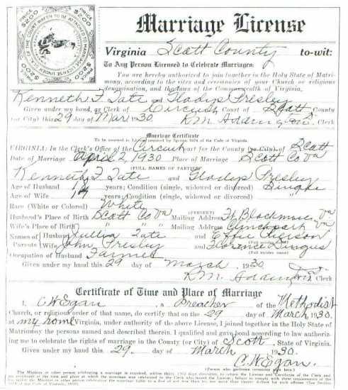 Kenneth TATE & Gladys PRESLEY, 1930 – Marriage