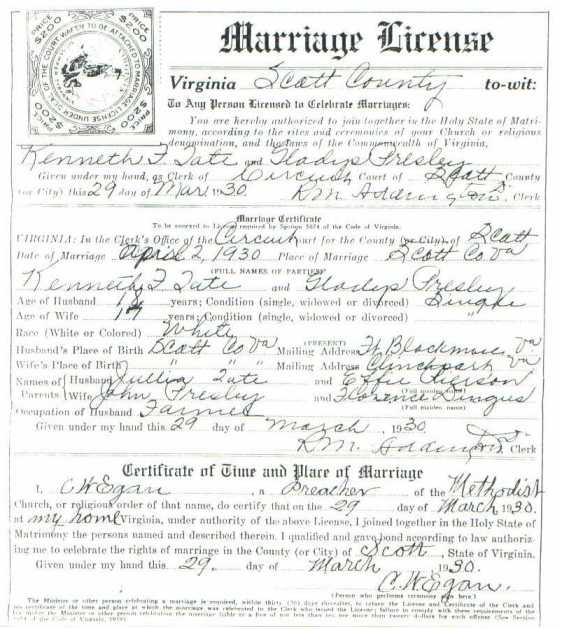 Kenneth TATE & Gladys PRESLEY, 1930 - Marriage License
