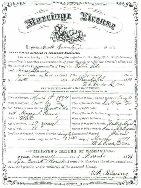 Robert TATE & Nancy RAMEY, 1879 - Marriage Certificate