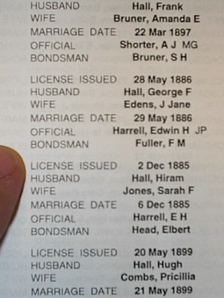 Marriage log of HALL names