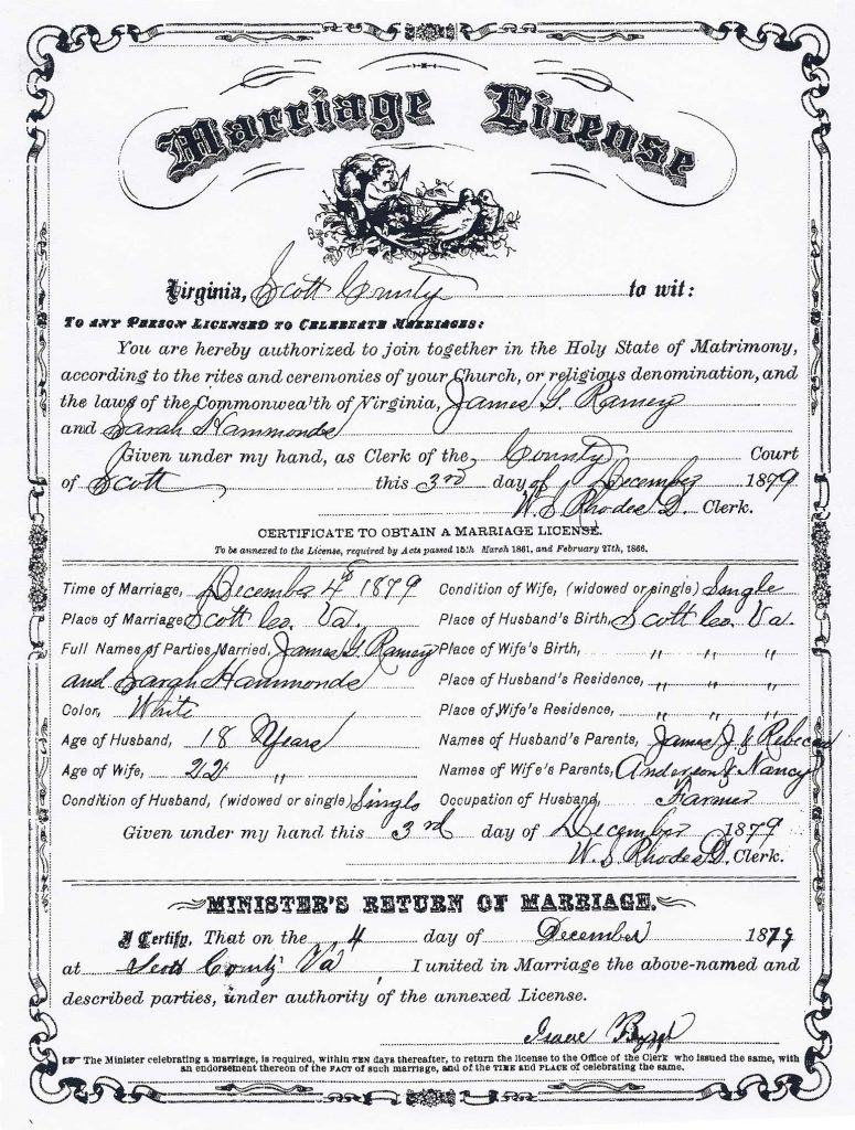 Marriage Certificate For James G Ramey And Sarah Hammonds