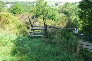 Stile next to closed gate in field south of Slader Creek Rd