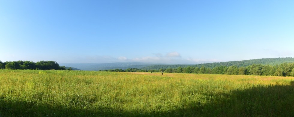 View from a field on top of a hill east of Poverty Hill Rd