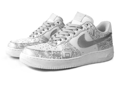 Nike Air Force 1 Low Silver on White