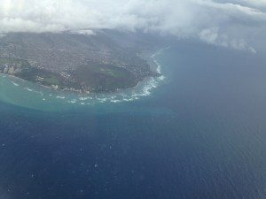 Aerial view of Diamond Head on Oahu photo by Scott Holleran