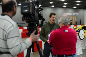 Dr. Gerry Brown was interviewed soon after arriving at the convention center.