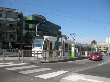 The tram leaving St Kilda