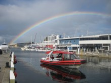 Rainbows over the waterfront in Hobart