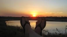 Feet at sunset