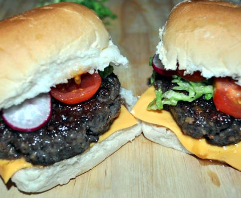 Buffalo and Kangaroo Burgers Cooked