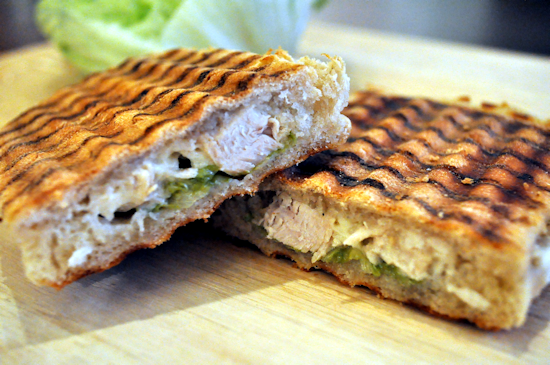 Chicken and Mayonnaise Panini with Lettuce