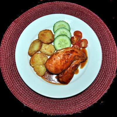 Sticky BBQ Chicken, Cherry Tomatoes & Cucumber