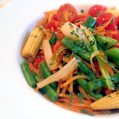 Stir Fry Garlic Rainbow Vegetables Recipe