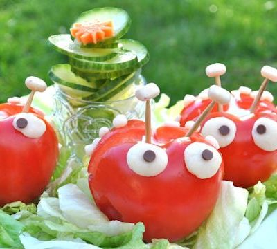 Thomas Kitchen Carving Challenge:  Tomato Ladybirds with a Cucumber Rose
