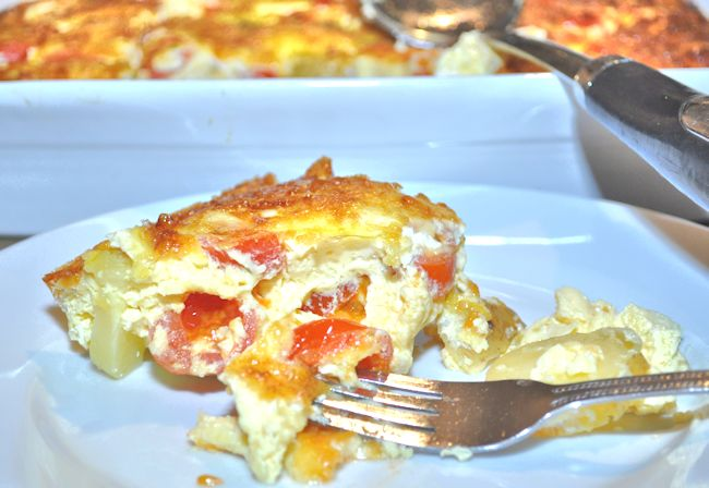 Pastry Free Potato, Cheese, Onion and Tomato Quiche (Crustless Quiche)