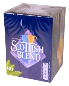 Box of Scottish Blend tea bags.