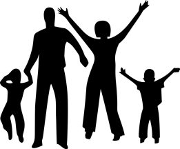shadow of parents with children