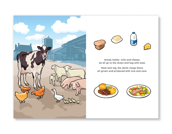Where does my food come from, Children's farming book, illustrators Bath, UK