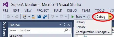"To the right of the ""Start"" button is a dropdown where you can set the build mode: Debug or Release"